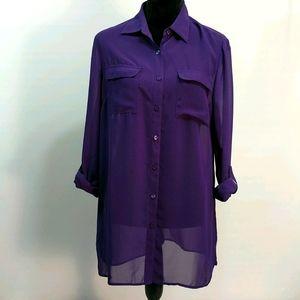 Coldwater Creek Sheer Purple Long Sleeve T…
